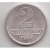 Brasil Moneda Escasa 2 Cruzeiros Año 1957 !!