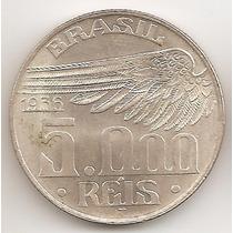 Brasil, 5000 Cruzeiros, 1936. Plata. Sin Circular