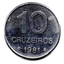 Moneda Brasil 10 Cruzeiros Año 1981