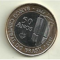 Moneda Brasil 1 Real Año 2015 50 Años Banco Central