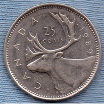 Canada 25 Cents 1989 * Alce * Elizabeth Ii *