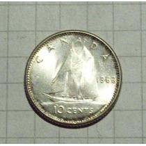 Canada 10 Centavos Plata 1962 Excelente
