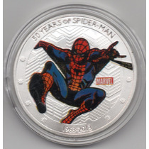 Moneda Spiderman 50 Aniversario 1963-2013 Baño Plata 40mm