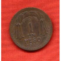 Moneda 1 Peso Chileno 1945 Muy Buen Estado Olivos