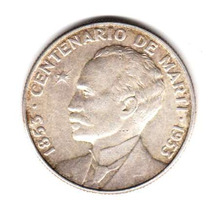 Moneda Cuba Plata 50 Centavos Año 1953 Centenario De Marti