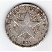 Cuba 1 Peso De Plata Año 1932 Excelente