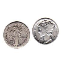 Moneda Plata Estados Unidos Año 1923 10 Centavos Buena