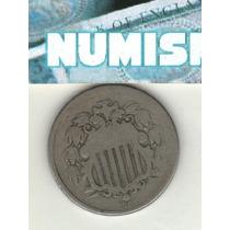 Estados Unidos Escasa Moneda De 5 Centavos Año 1866