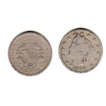 Moneda Estados Unidos De 5 Centavos Año 1906 Buena-