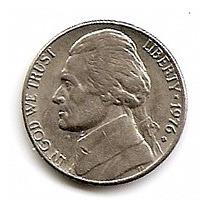 U.s.a.jeferson Moneda De Nickel De 5c.año1976