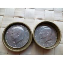 Par Monedas De Medio Dolar C/u (usa) Con Cajita De Bronce