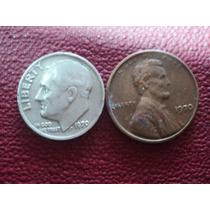 Eeuu Dos Monedas 1 Cent 1970 Cobre Y 1 Dime 1970