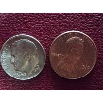Eeuu Dos Monedas 1 Cent 1992 Cobre Y 1 Dime 1992