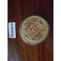 Robmar-calendario Azteca-maya Bañada En Oro 24 K. En Capsula