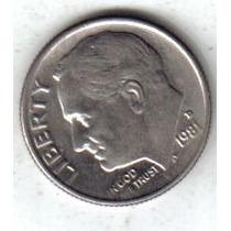 Estados Unidos Moneda 1 Dime Año 1981 D !!