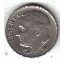 Estados Unidos Moneda 1 Dime Año 1967 !!