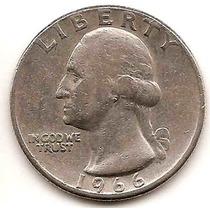 Moneda De Estados Unidos De 25 Cent. Cuarter Dolar Año 1966