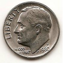 Moneda Estados Unidos De One 1 Dime 10 Centavos Año 1980 P