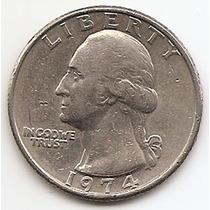Moneda Estados Unidos De 25 Cent.cuarter Dolar Año 1974 #