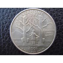 U. S. A. - Vermont, Moneda D 25 Centavos (cuarto), Año 2001