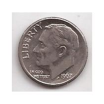 Estados Unidos Moneda De 1 Dime Año 1967 !! !!