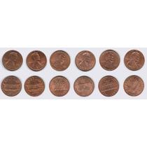 Estados Unidos, 6 Monedas Diferentes De 1 Cent 1985-2005