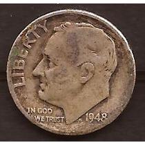 Moneda De Plata 1949 Estados Unidos 1 Dime Usada