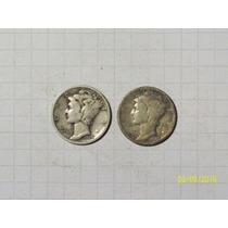Estados Unidos 1 Dime Plata 1928 Y 1939 Lote