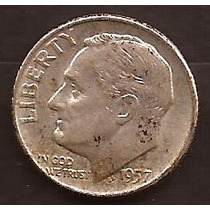 Moneda De Plata 1957 Estados Unidos 1 Dime Usada