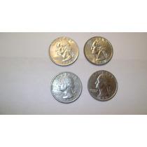 4 Monedas De Estados Unidos 25 Centavos De Dolar Años 1989 Y