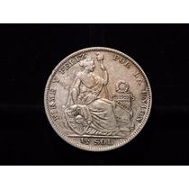 Moneda Peru Medio 1/2 Sol 1935 Plata 12,5 Gramos Impecable
