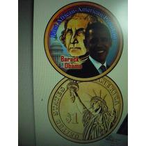 Robmar-usa 1 Dolar Cara Pintada De Obama-wasghinton Con Oro