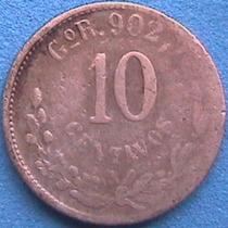 Spg - Mexico 10 Centavos 1900 Gor Plata .