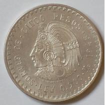 Mexico Moneda De Plata .900 5 Pesos Cuauhtemoc Año 1948