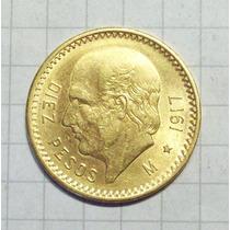 Mexico 10 Pesos 1917 8,35 Gms Oro 22 Excelente
