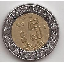 Mexico Moneda Bimetalica 5 Pesos Año 2003 !