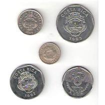 Lote De 5 Monedas De Costa Rica Distintas ¡ Oferta !
