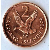Islas Malvinas 2 Pence 2004 Reina Vieja Sin Circular Km131