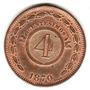 Moneda De Paraguay Año 1870 De 4 Centesimos Muy Buena-