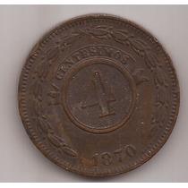 Paraguay Antigua Moneda De Cobre 4 Centesimos Año 1870