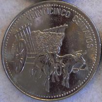 Republica Dominicana 25 Centavos 1990 * Bueyes Con Carreta *