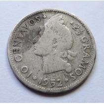 Moneda Escasa República Dominicana Plata 10 Centavos 1952