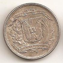 Republica Dominicana, 10 Centavos, 1944. Plata. Xf+