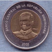 Republica Dominicana 10 Pesos 2008 Bimetalica * Matias Mella
