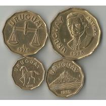 !! Lote De 4 Monedas Uruguayas Año 1976 1$, 50,20 Y 10 Cent
