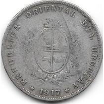 Moneda De Uruguay De Plata Año 1917 50 Centesimos Buena