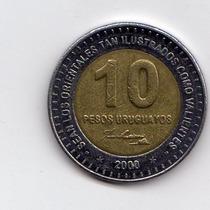 Uruguay 10 Pesos 2000 (bimetalica) Hermosa Liquidoooooooo