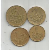 Uruguay Lote De 4 Monedas 1,2 Y 5 Pesos