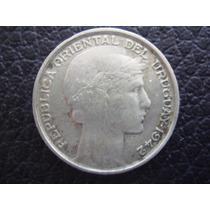 Uruguay - Moneda De 20 Cts Plata 720 , Año 1942 - Excelente