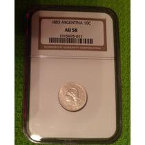 Moneda Argentina De Plata 10 Centavos De Patacón 1883